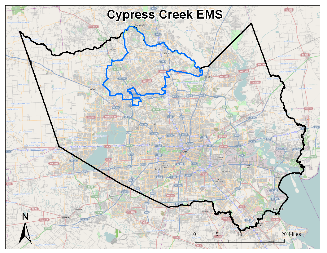 CCEMS Service Area showing Harris County, Texas